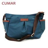 【CUMAR女包】輕量防潑水尼龍多口袋斜背包-藍綠