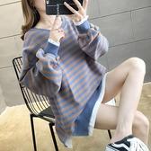 秋裝2021年新款超火cec長袖純棉條紋假兩件衛衣女學生韓版潮寬鬆 米娜小鋪