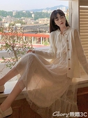 蕾絲長裙 2021秋裝新款蕾絲網紗仙女裙收腰顯瘦氣質長袖連身裙女中長款裙子  新品【99免運】