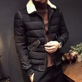 夾克外套-羔羊毛領冬季保暖時尚明線夾棉男外套2色73qa17【時尚巴黎】