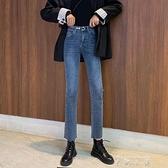 微喇叭高腰牛仔褲女2019秋冬新款修身韓版學生chic復古牛仔長褲女