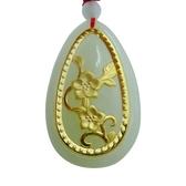 金鑲玉項鍊 和闐玉吊墜-花開富貴生日情人節禮物男女飾品73gf61[時尚巴黎]