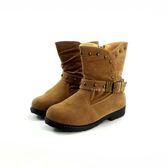 韓版 帥氣  圓鉚釘 刷毛馬靴《7+1童鞋》A719  米色