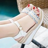 夏天松糕厚底粗跟坡跟涼鞋女2021新款夏季百搭高跟鞋配裙子穿的鞋 蘿莉新品