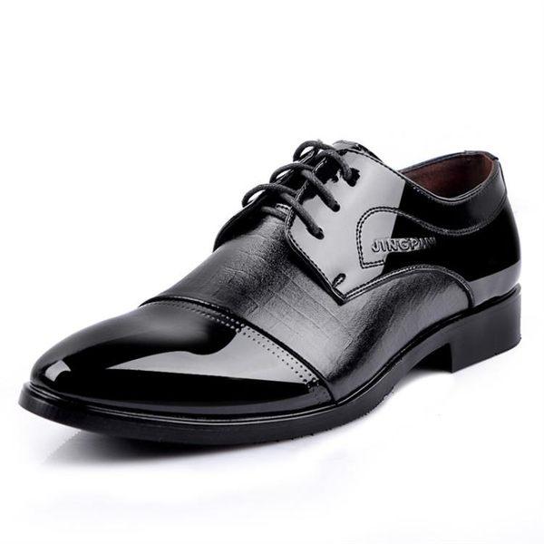 皮鞋 透氣商務休閑系帶 黑色英倫尖頭 男鞋
