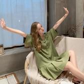 襯衫洋裝 小清新雪紡連衣裙2019新款夏牛油果綠色女士裙子氣質襯衫裙【星時代女王】