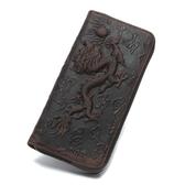 瘋馬皮皮夾(長夾)-龍紋浮雕中國風復古男錢包2色73qs28【時尚巴黎】