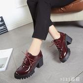 秋冬新款英倫風少女小皮鞋女士中跟粗高跟鞋增高學生牛津單鞋 XN5054【VIKI菈菈】