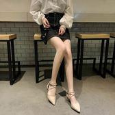 chic涼鞋女夏季新款百搭韓版粗跟學生中跟包頭仙女鞋子尖頭鞋 蘑菇街小屋