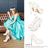 Ann'S日系甜美姿態-蕾絲滾邊後跟大蝴蝶細跟高跟鞋-白