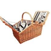 戶外保溫野營收納籃子雙人四人柳編野餐箱帶蓋野餐籃藤編手提【探索者】