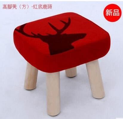 小板凳子卡通換鞋矮凳實木布藝創意兒童成人小椅子沙發方凳(主圖款高腳凳(方)-紅底鹿頭)