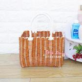 野餐籃 手工塑料編織筐時尚購物籃野餐水果收納框小寵物藍洗澡手提菜籃子T
