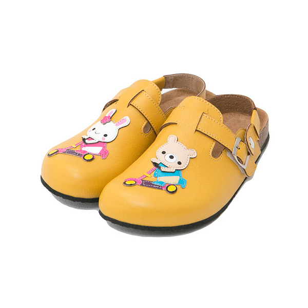 【Jingle】小熊約會前包後空軟木鞋(芥末黃大人款)