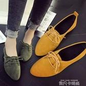 韓國2019新款樂福鞋女平底復古絨面方頭穆勒英倫風單鞋懶人一腳蹬 依凡卡時尚