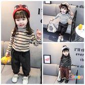 女寶寶長袖打底衫刷毛嬰兒t恤打底衫0-1-2-3-4-5歲女童條紋高領衫