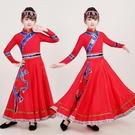 新款蒙古兒童演出服360度長款大擺裙蒙族女童表演服少數民族服飾 快速出貨