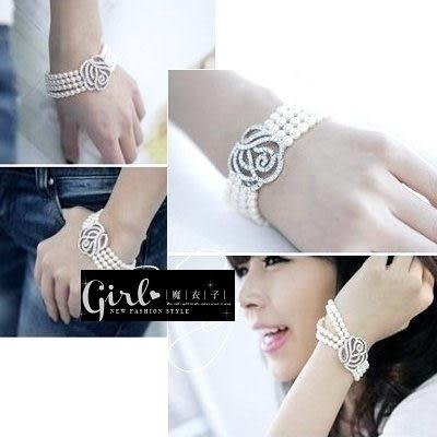 【QA275】魔衣子-玫瑰貼鑽珍珠造型手練