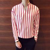 寬鬆套頭條紋襯衫 BF風鬆緊收腰休閒男士立領襯衫
