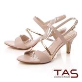 TAS異材質拼接繞帶高跟涼鞋-浪漫粉