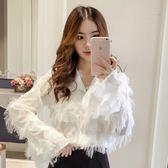 2019春季新款韓版純色甜美流蘇長袖襯衫女士時尚休閒潮流氣質襯衣  熊熊物語