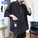 條紋短袖襯衫外套男韓版潮流立體口袋襯衣夏季加肥加大碼胖子寸衫短袖襯衫
