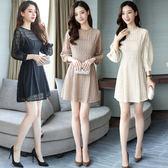 VK精品服飾 韓系氣質優雅蕾絲花時尚立領收腰修身長袖洋裝