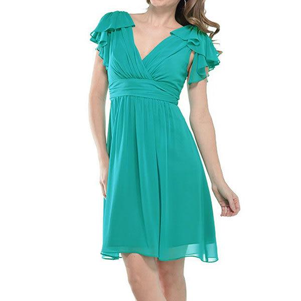 『摩達客』美國進口Landmark雙邊荷葉袖浪漫紗裙土耳其藍派對小禮服/洋裝(含禮盒)(1831395013)
