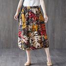 適穿腰圍25-32吋  J1882 棉麻 文藝風印花顯瘦裙子