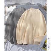 新款早秋港風套頭情侶毛衣純色圓領男毛衣chic韓風打底毛線衣  蘑菇街小屋