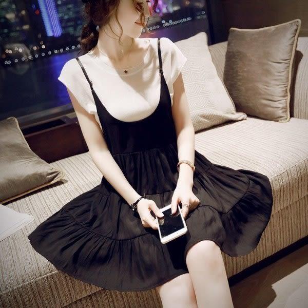 *漂亮小媽咪*今夏主角韓版顯瘦吊帶裙孕婦連衣裙兩件式短袖棉T恤上衣背帶裙孕婦裝 D16063JA