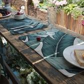 吾貨 ins植物水彩西餐墊布藝隔熱墊餐杯墊餐桌墊墊碗盤墊茶墊子