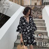 【YOUNGBABY中大碼】雙面穿前V後圓綁帶碎花洋裝.黑(36-48)