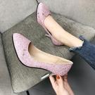 偽娘大碼超銀屬細跟高跟變裝反串CD粉色單鞋銀色尖頭單『洛小仙女鞋』YJT
