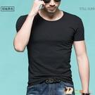 夏季男士棉質短袖t恤潮流半袖打底衫潮上衣服2020新款修身體桖 HX4136【花貓女王】