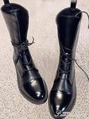 復古黑色馬丁靴女英倫風新款秋季網紅百搭單靴機車中筒短靴潮 范思蓮恩