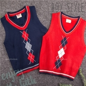 小紳士學院菱格紋針織背心-2色(300342)【水娃娃時尚童裝】