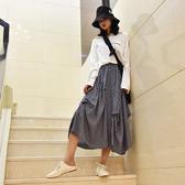 長裙 格紋 個性 不規則 設計 側口袋 寬下擺 甜美 鬆緊腰 長裙【LAC1916】 ENTER  10/24