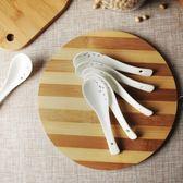 中式水墨骨瓷無鉛鎘家用小勺子小湯勺瓷勺陶瓷飯勺   LannaS