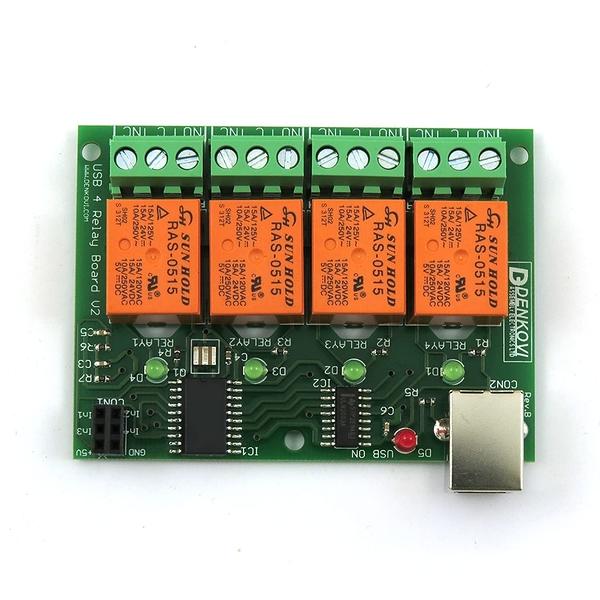 [9美國直購] USB 4 Channels (10A) Relay Module, for Home Automation - v2