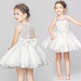 花童禮服 精緻簍空蕾絲蝴蝶結小禮服 連身洋裝 畢業白色禮服 洋裝 橘魔法 女童 白色洋裝 紗裙