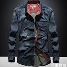 2020秋季牛仔長袖襯衫男士大碼韓版薄款春秋寬鬆襯衣工裝外套  自由角落