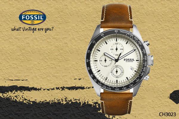 【時間道】[FOSSIL。錶]現代時尚成熟中性大錶徑三眼腕錶/米黃面黑框咖啡皮 (CH3023)免運費