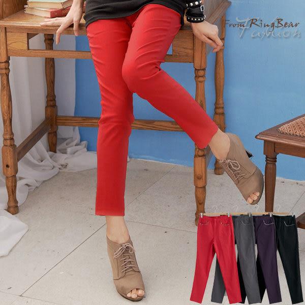 質感加大尺碼--時尚風格紋滾邊設計造型口袋鬆緊棉麻九分褲(黑.灰.紅.紫M-6L)-S50眼圈熊中大尺碼