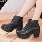 女款 經典素面百搭綁帶粗跟高跟短靴 踝靴 機車靴 軍靴 馬靴 MIT台灣製 59鞋廊