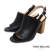 Tino Bellini 巴西進口極簡質感後釦帶魚口跟鞋 _ 黑 A83039 歐洲進口款