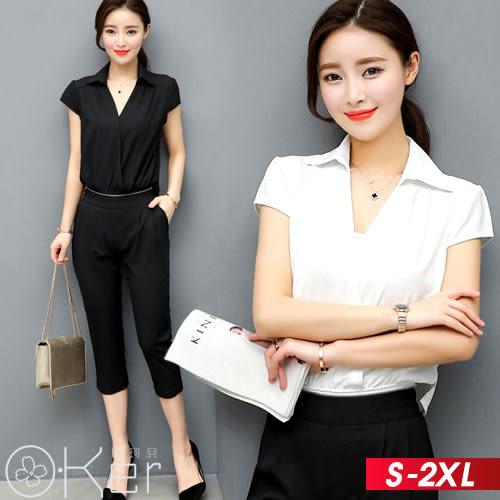兩件式OL俐落風格V領短袖襯衫+七分褲 S-2XL  O-ker 歐珂兒 LLD68119-C