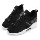 PLAYBOY 率性風格 直紋拼接休閒鞋-黑白(Y5781)
