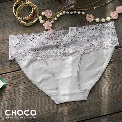 簡約原色‧彈力蕾絲花邊棉質內褲(灰色) S~L Choco Shop