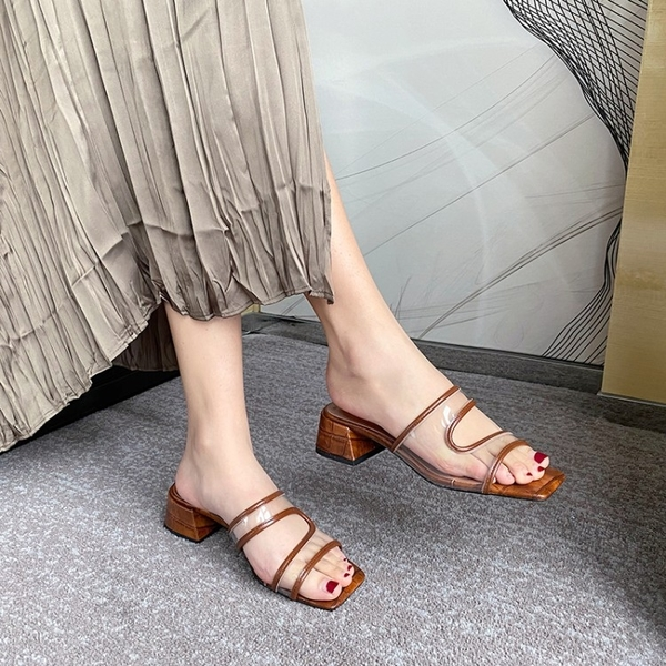 手工真皮女鞋36~40 2020新款時尚優雅牛皮氣質方頭中跟涼鞋 ~2色